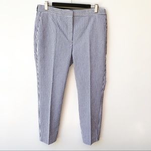 Zara Blue White Stripe Cropped Slim Trousers Pants